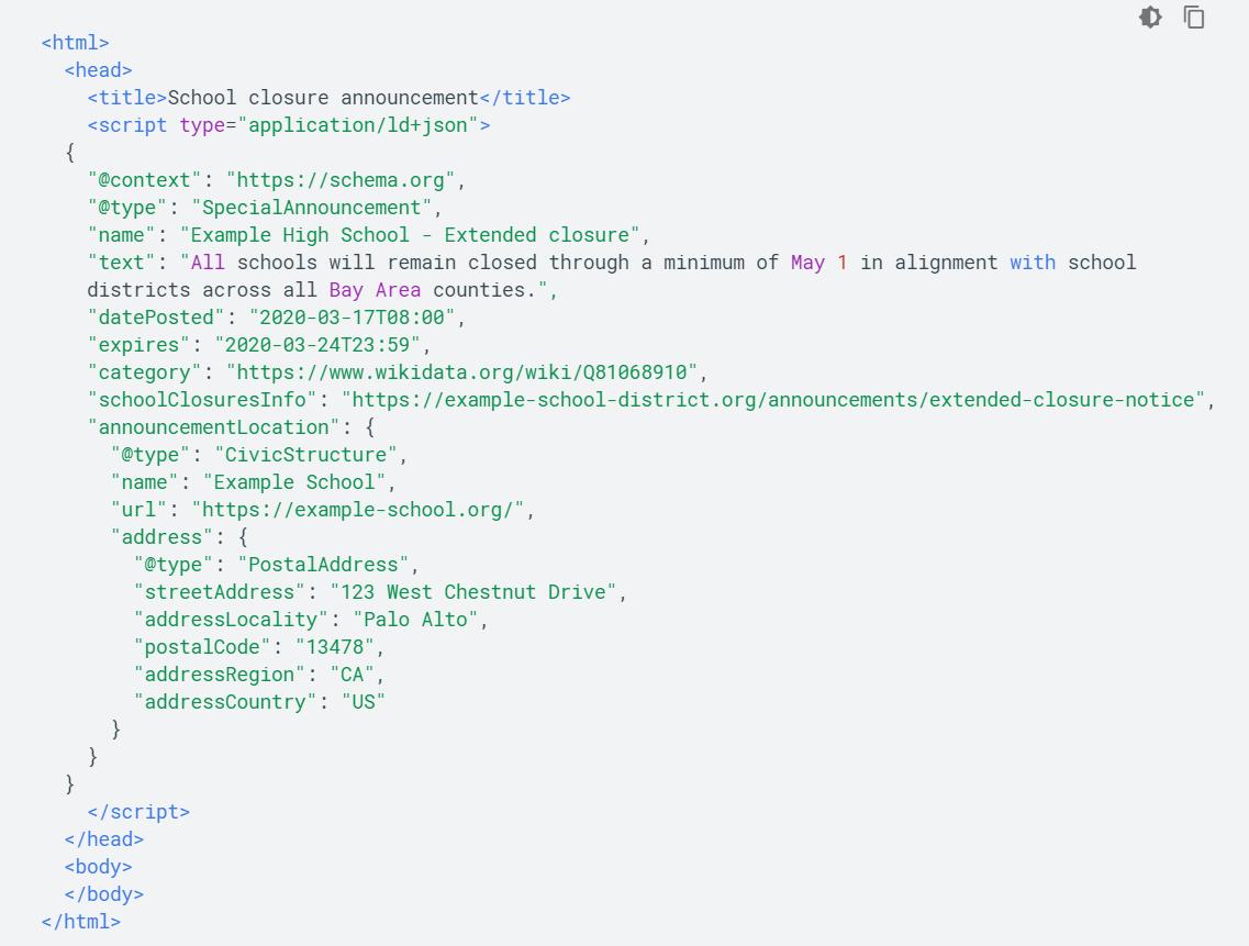 SpecialAnnouncementの構造化データのJSONマークアップ例