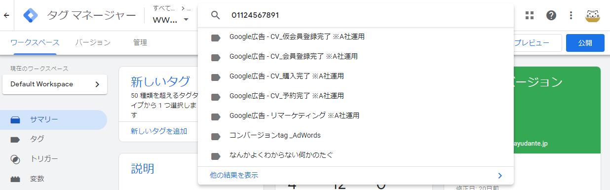 リニューアルされたGTMの検索機能のキャプチャ_検索結果_概要