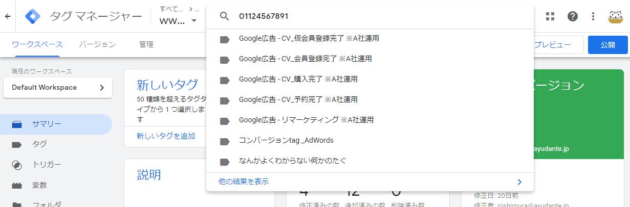 GTM検索結果_概要画面