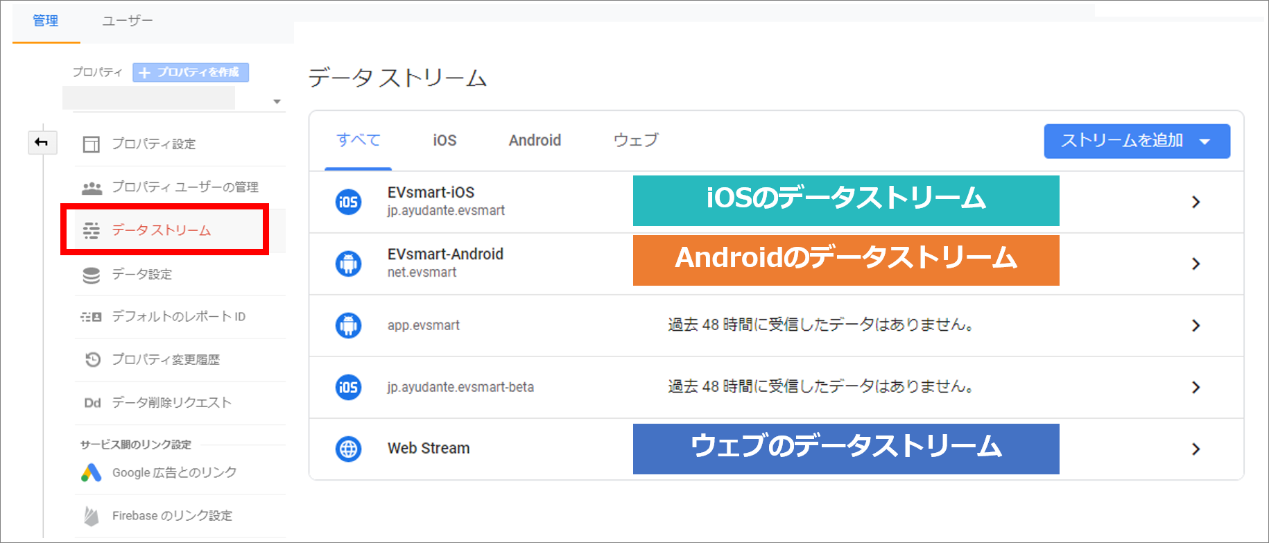 データストリーム設定画面